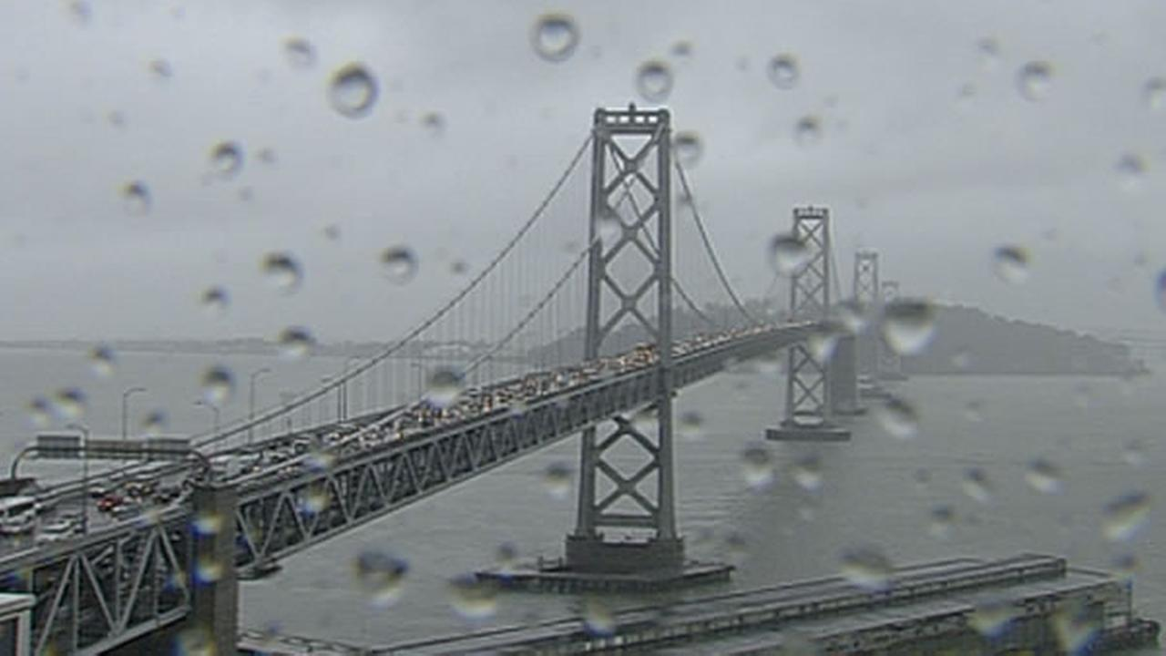 ABC7 News South Beach Cam captured raindrops falling around the Bay Bridge on Monday, December 21, 2015.