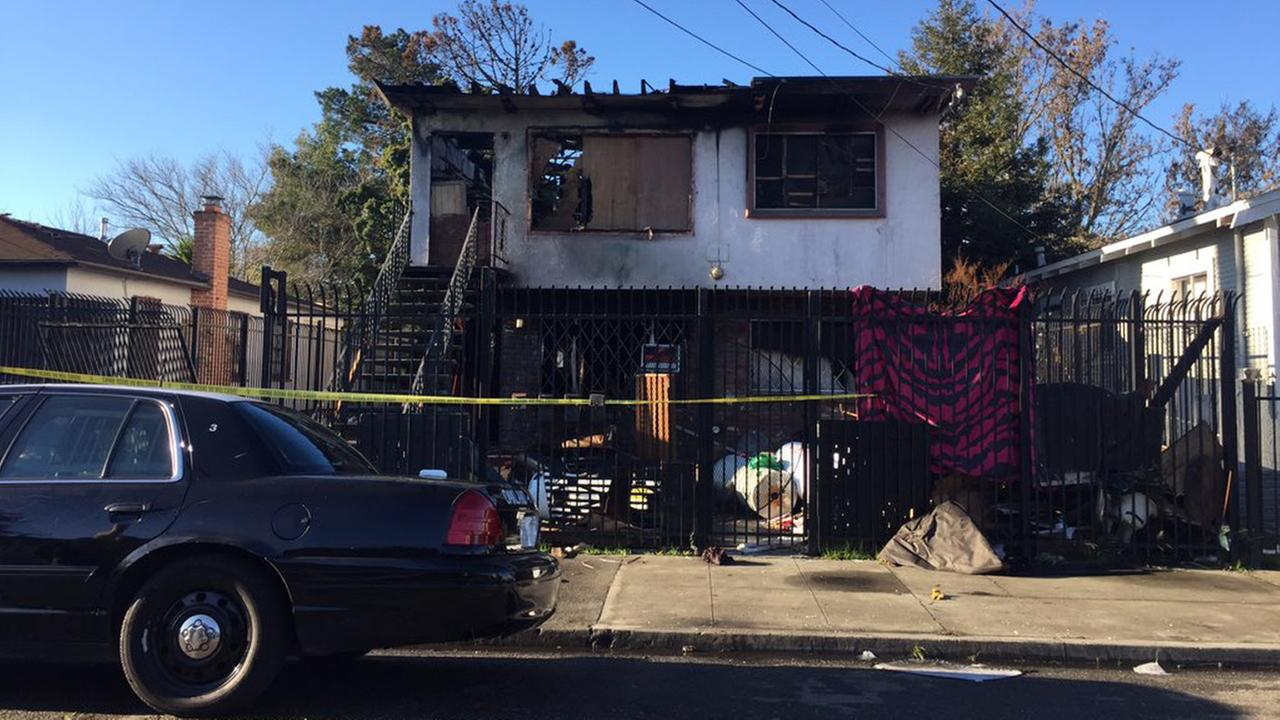 Two people died in a house fire in Oakland, Monday, December 28, 2015.