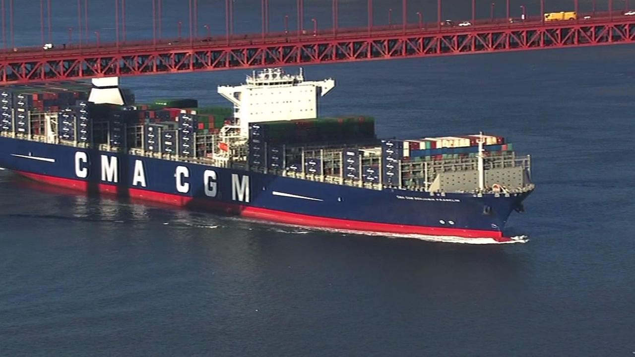 The largest container ship to ever enter the United States made its way under the Golden Gate Bridge on Thursday, December 31, 2015.