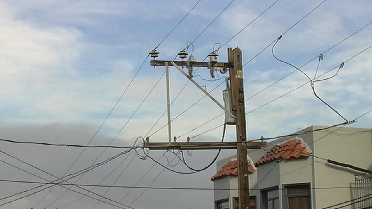 A power line that was damaged by a drone in San Francisco, Calif. is seen on Monday, January 4, 2016.