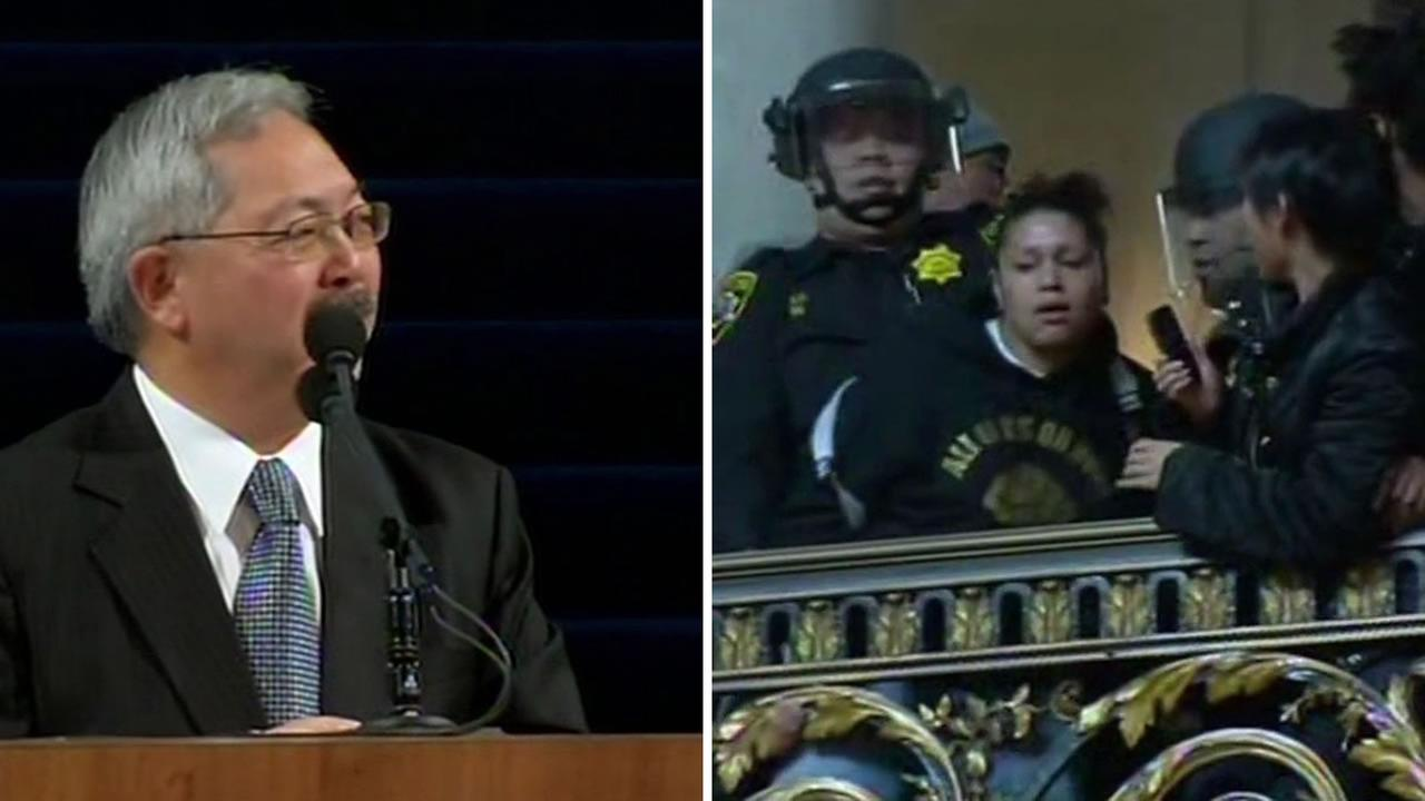 A raucous protester was taken away by deputies after San Francisco Mayor Ed Lee was sworn in for a second term in San Francisco City Hall January 9, 2015.