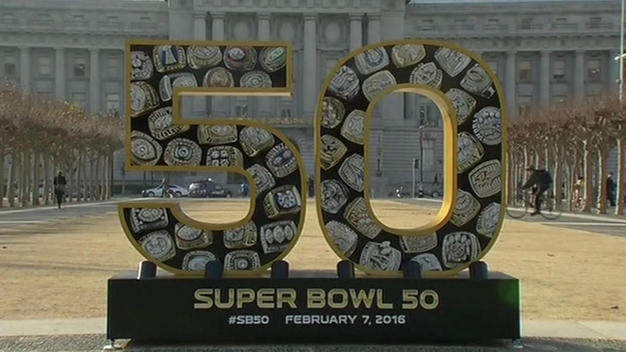 A Super Bowl 50 sign in front of San Francisco City Hall on Monday, January 11, 2016.