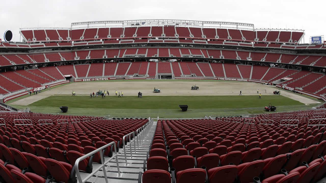 In this photo, workers install sod on the field at Levis Stadium in preparation for the NFLs Super Bowl 50 in Santa Clara, Calif., on Jan. 11, 2016. (AP Photo)