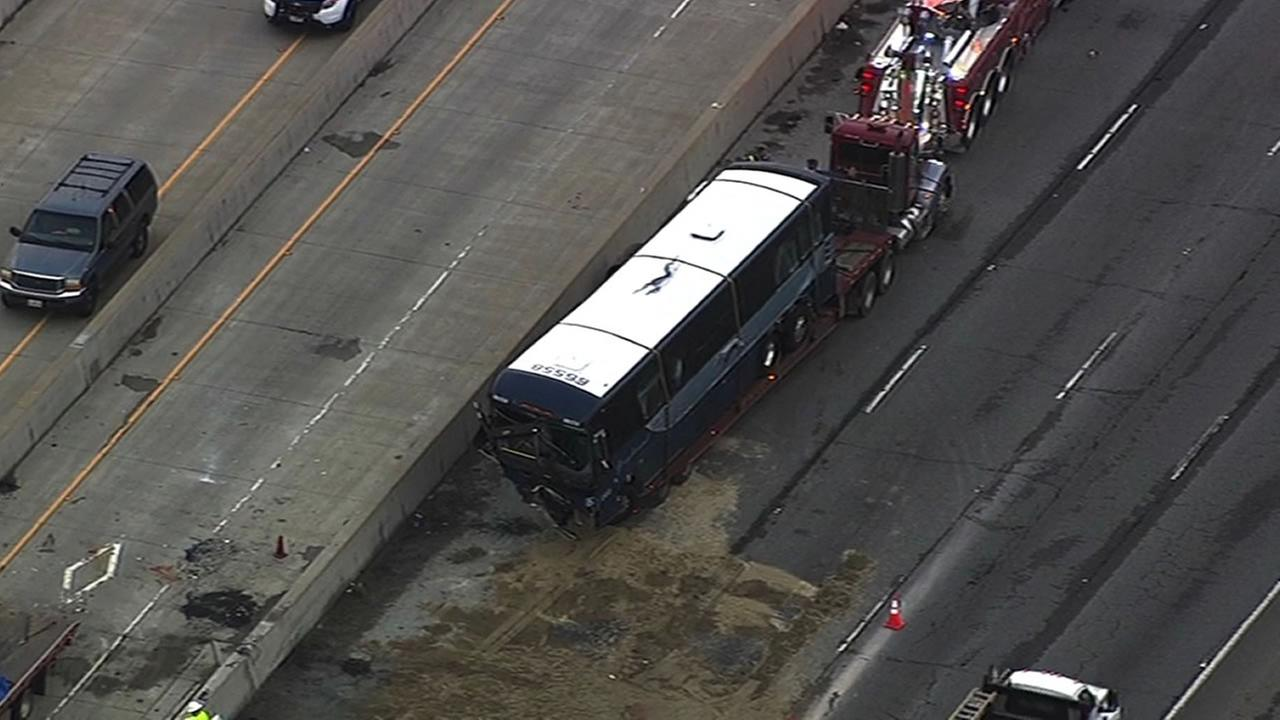 Greyhound bus gets towed away