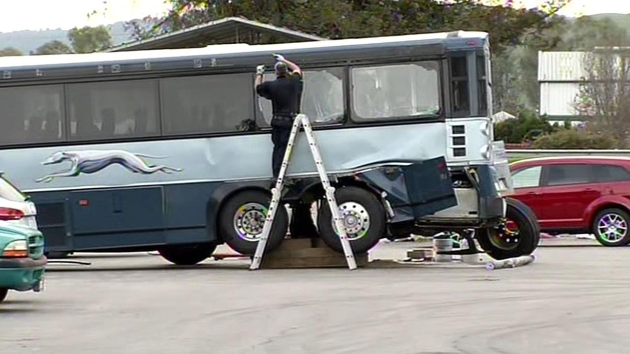 A Greyhound bus that crashed, killing two women in San Jose, Calif. on Tuesday, January 19, 2016 is seen in this photo.