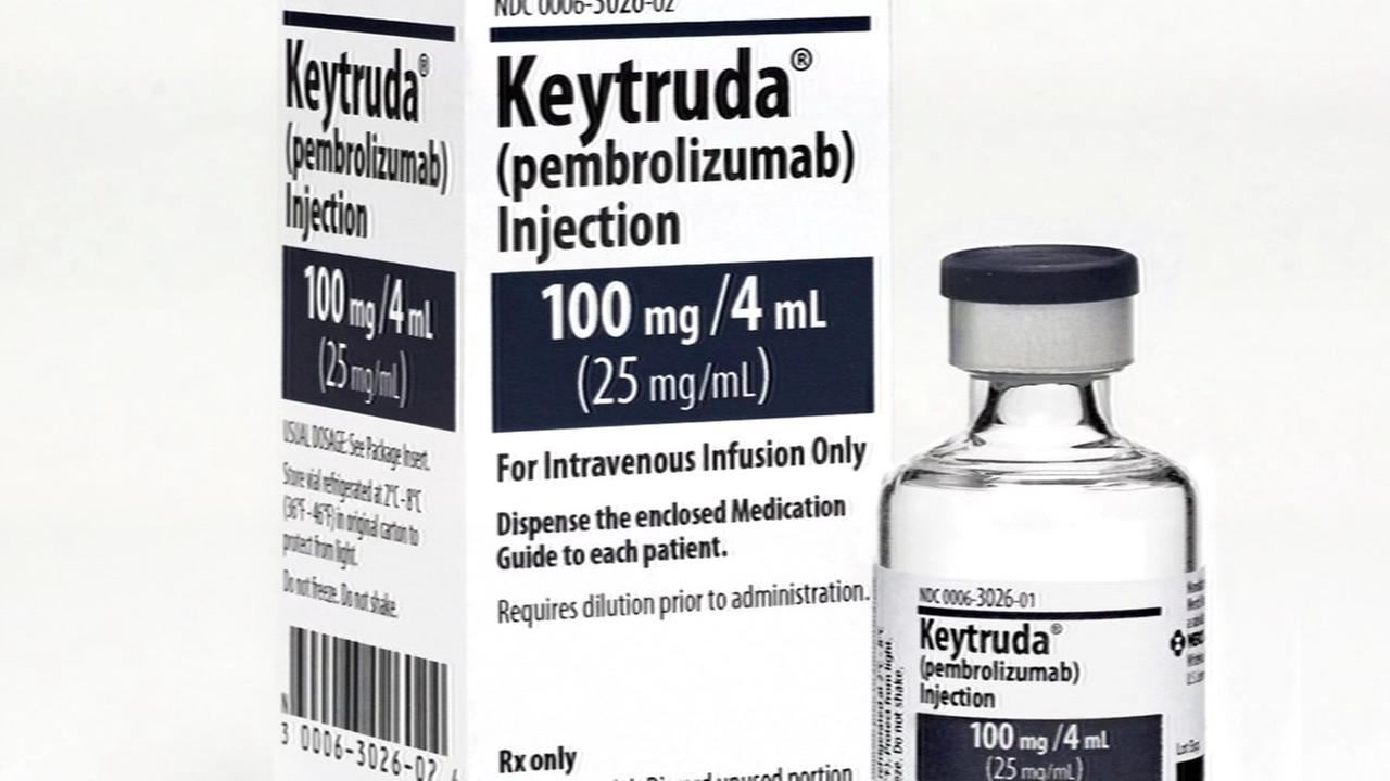 A cancer-fighting drug named Keytruda is seen in this undated image.