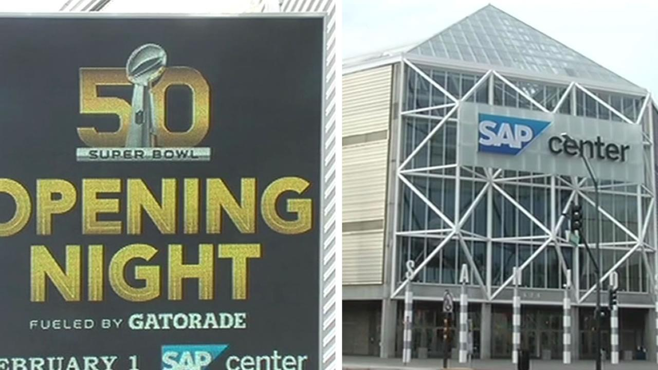 The SAP Center in San Jose, Calif. prepares for the Super Bowl Jan. 21, 2015.