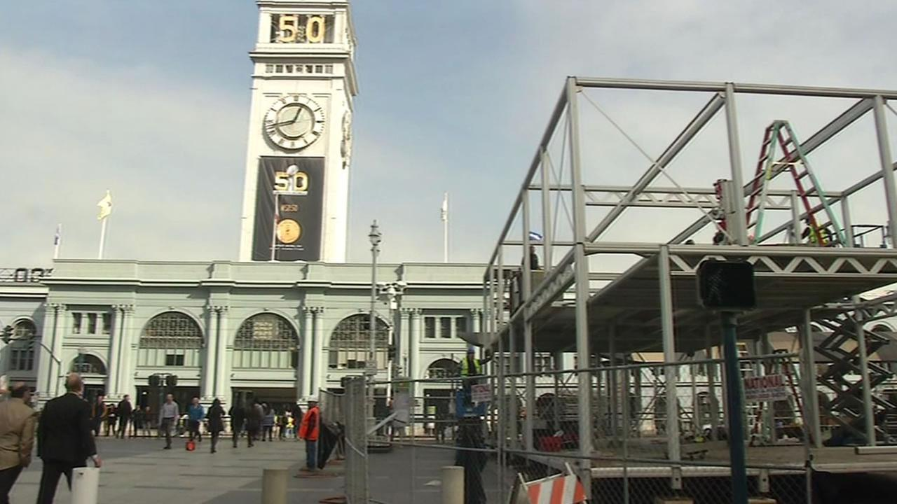Ferry Building with a Super Bowl 50 sign