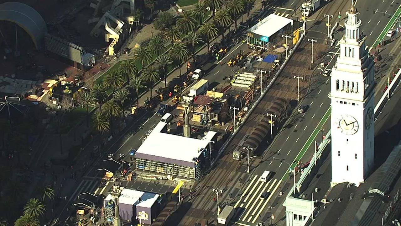 RAW VIDEO: Super Bowl City taking shape in SF