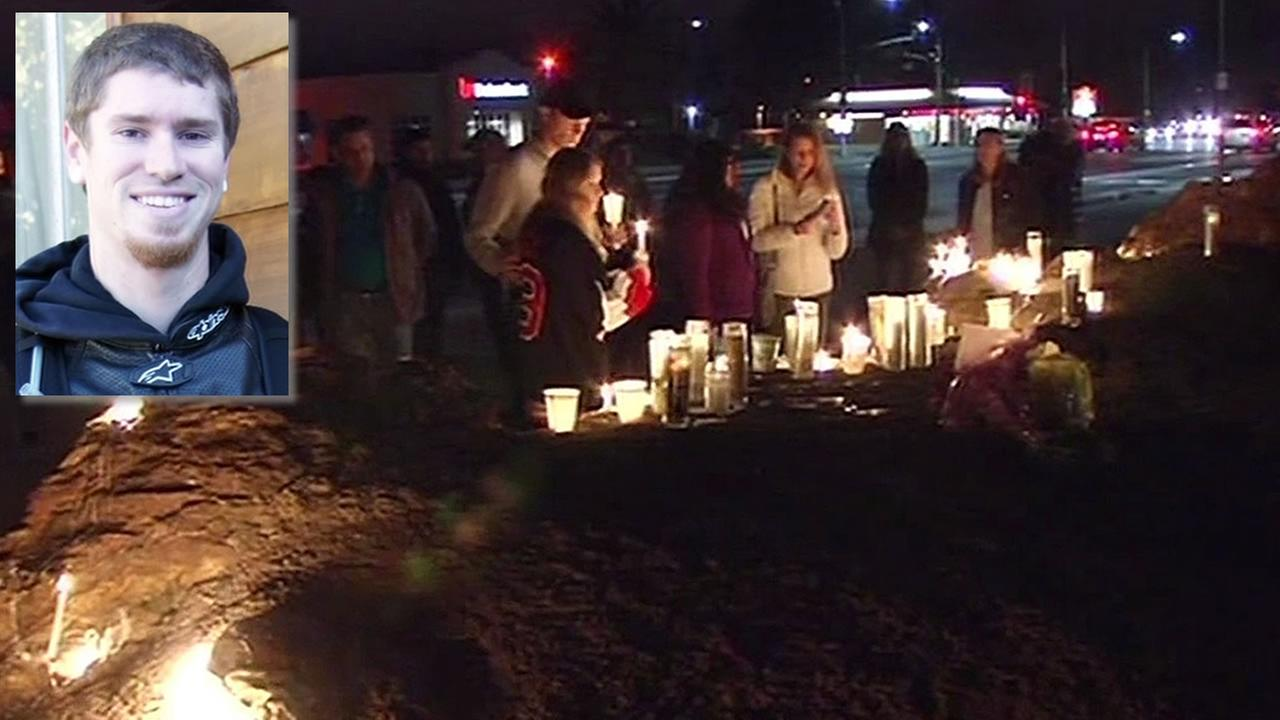 Kyle Myrick, friends and family at candlelight vigil for him