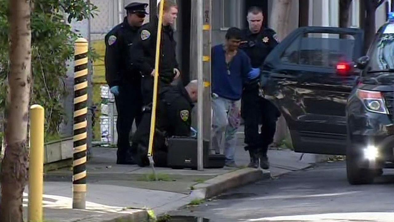 a homeless man is caught by police