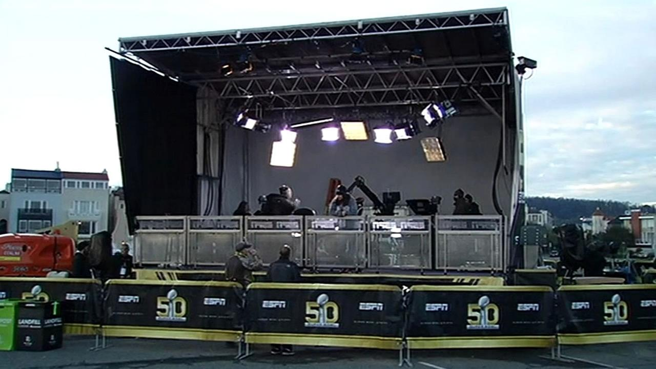 A sound stage where ESPN will broadcast live for the countdown of Super Bowl 50 in San Francisco, Calif. is seen in this image.