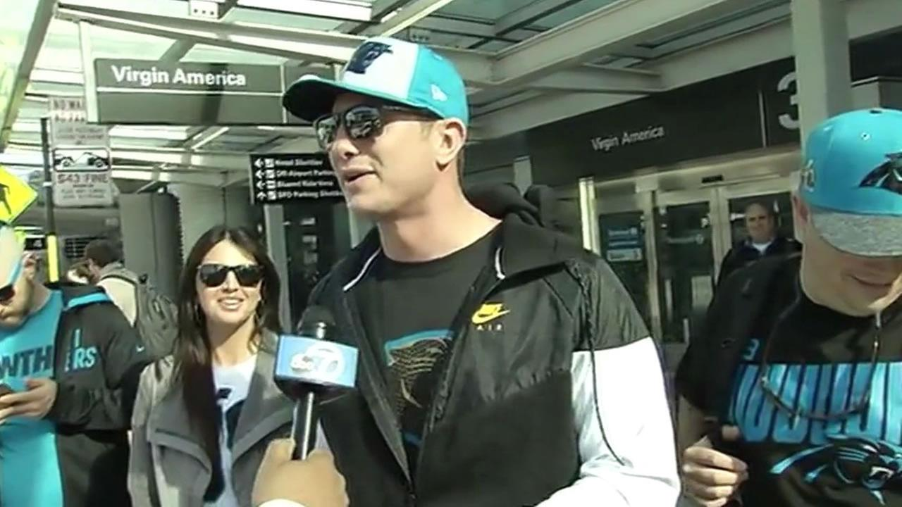 Carolina Panthers fan arrives in the Bay Area