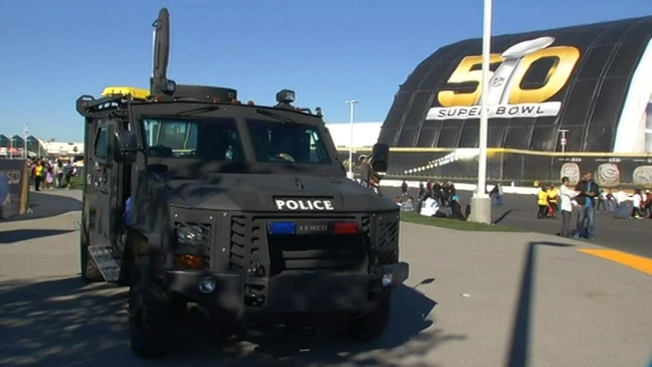 Heavy police presence is seen in front of Levis Stadium in Santa Clara, Calif. on February 7, 2016.