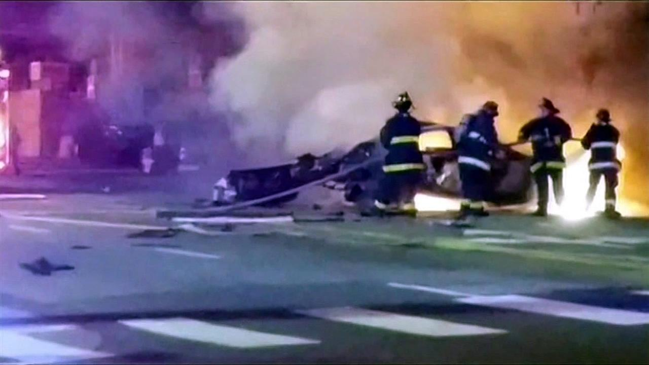Three men died in a fiery crash following a brief police chase after they attended NFL experience in San Francisco, Calif. on Saturday, February 6, 2016.