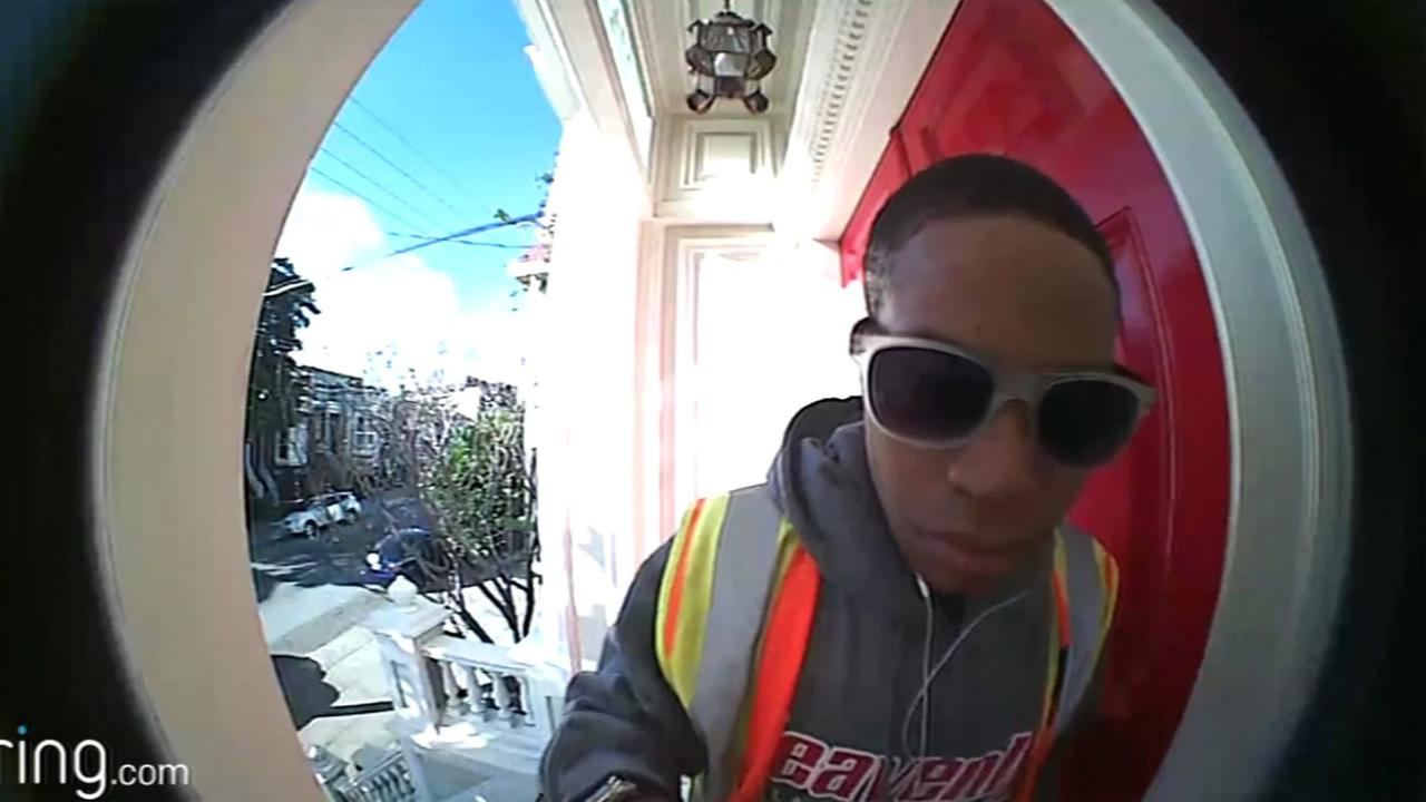 A man caught of video is seen taking mail from a home in Pacific Heights in San Francisco, Calif. in this undated image.