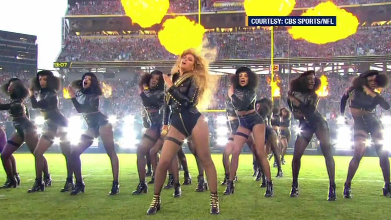 Beyonce is seen performing during the halftime show at Super Bowl 50 in Santa Clara, Calif. on Sunday, February 7, 2016.
