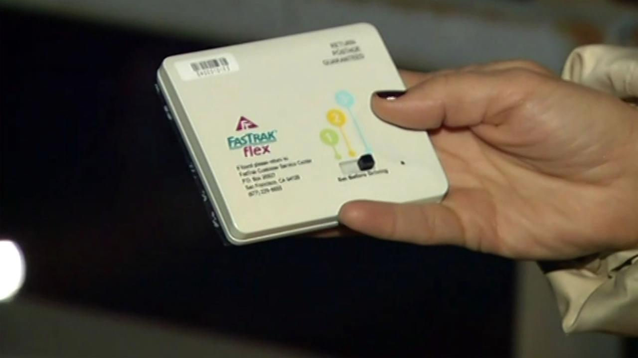 A new FasTrak flex transponder is shown on Wednesday, February 10, 2016.