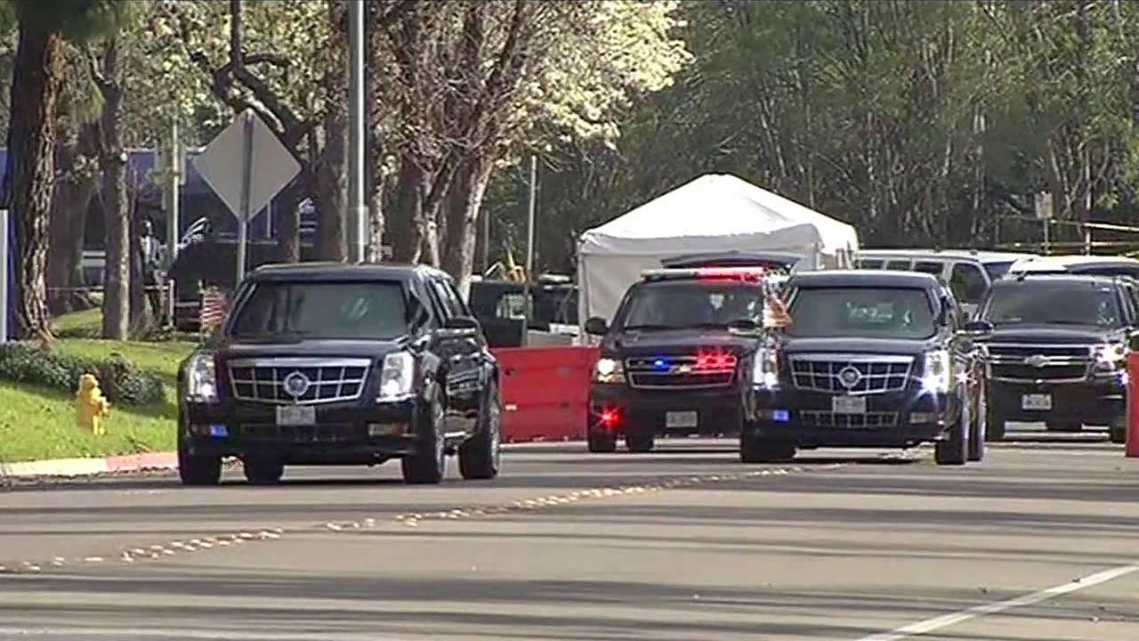 President Barack Obamas motorcade departed from a Milpitas hotel for event in Palo Alto on Thursday, February 11, 2016.