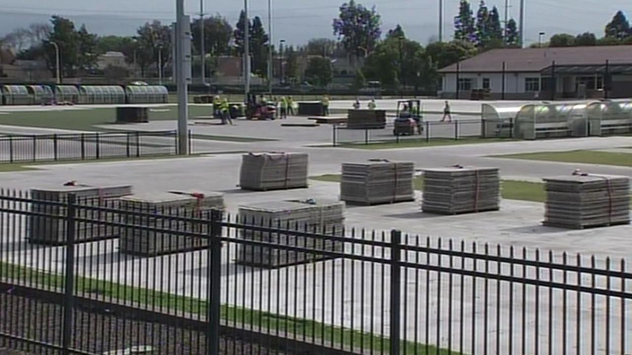 Santa Clara Youth Soccer Park still covered in plastic platforms