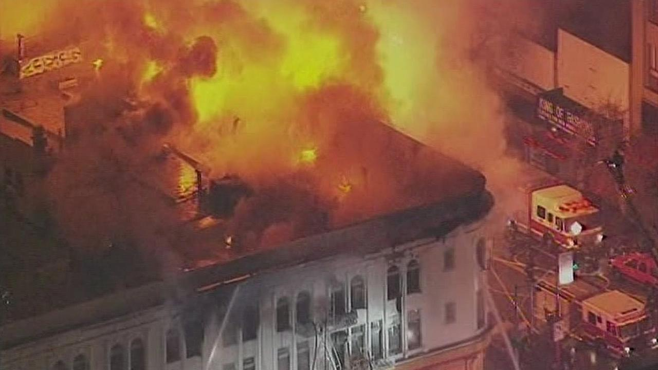 A fire burns a building on Mission and 2nd streets in San Francisco, Calif. in January of 2015.
