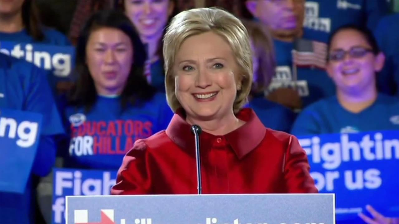 Presidential hopeful Hillary Clinton smiles after winning the Nevada caucus on Saturday, February 20, 2016.