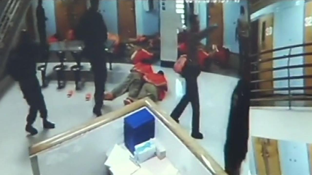 This images is from surveillance video that shows inmates fighting at the Santa Clara County Jail, March 3, 2016.