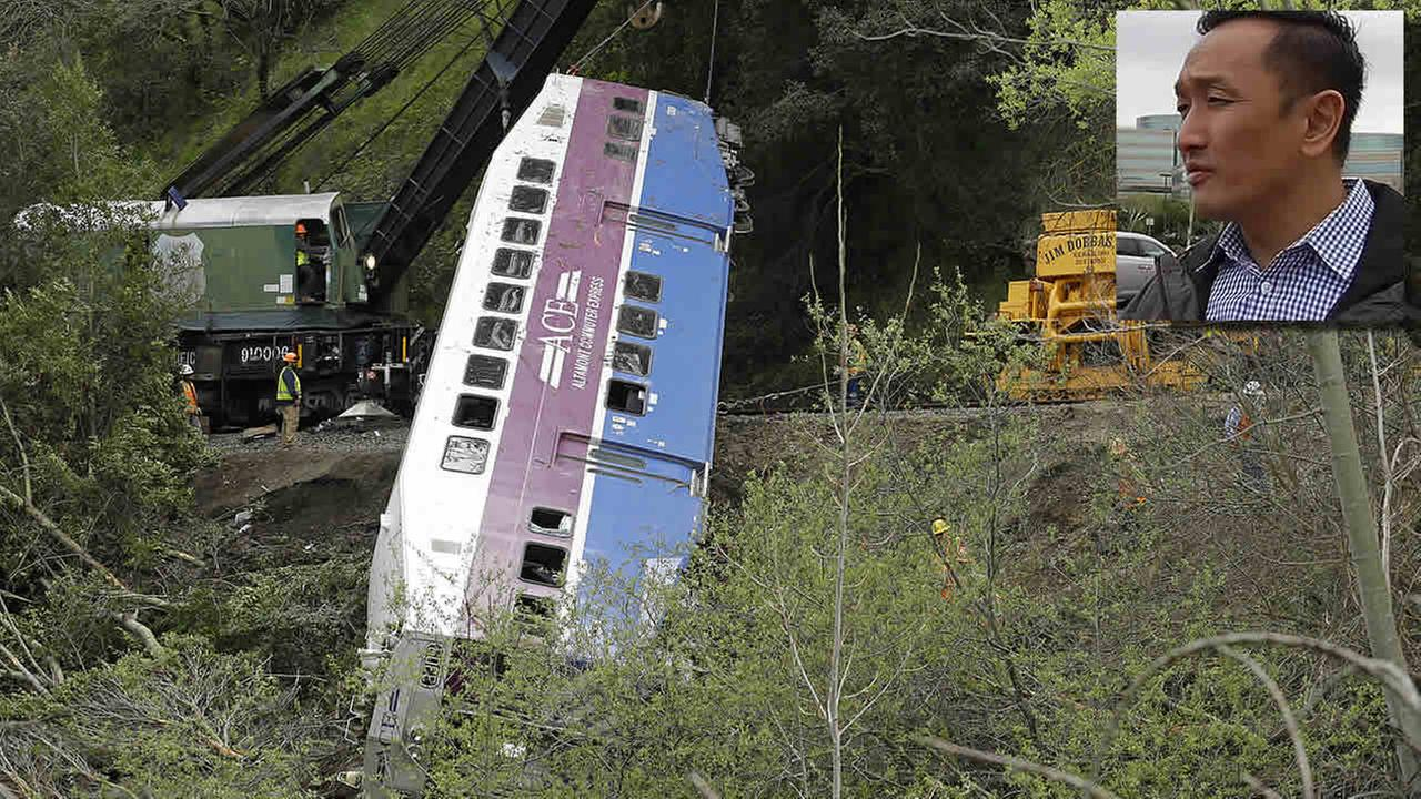 Workers hoist a derailed Altamont Corridor Express train up a hillside near Alameda Creek Tuesday, March 8, 2016, in Sunol, Calif.  (AP Photo/Ben Margot)