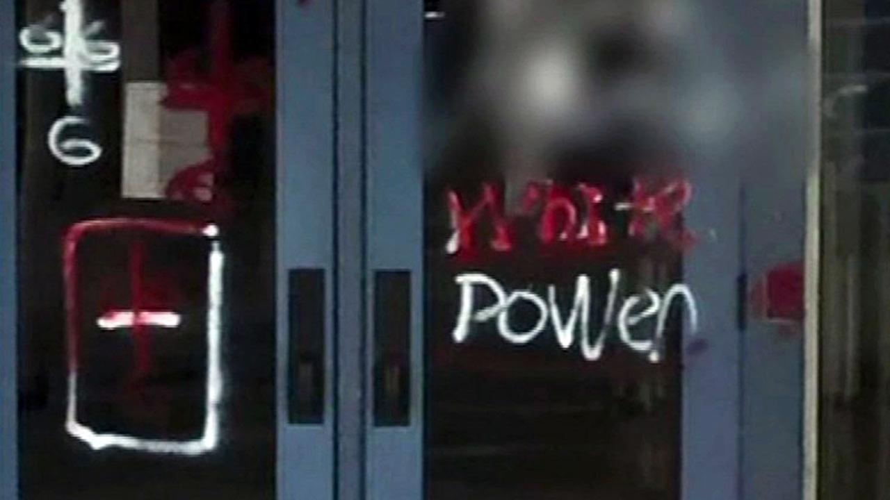 Racist graffiti found at San Leandro school district office.