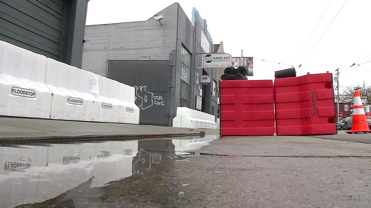 Flood-stop barriers are seen during a storm in San Francisco, Calif. on Thursday, March 10, 2016.