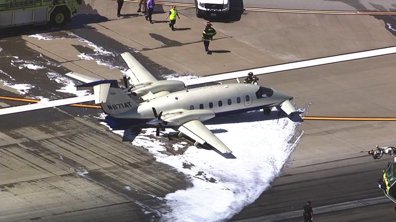 This image shows an Italian made Piaggio P-180 Twin Turbo Prop after it crash-landed at the Minet San Jose Airport in San Jose, Calif. March 24, 2016.