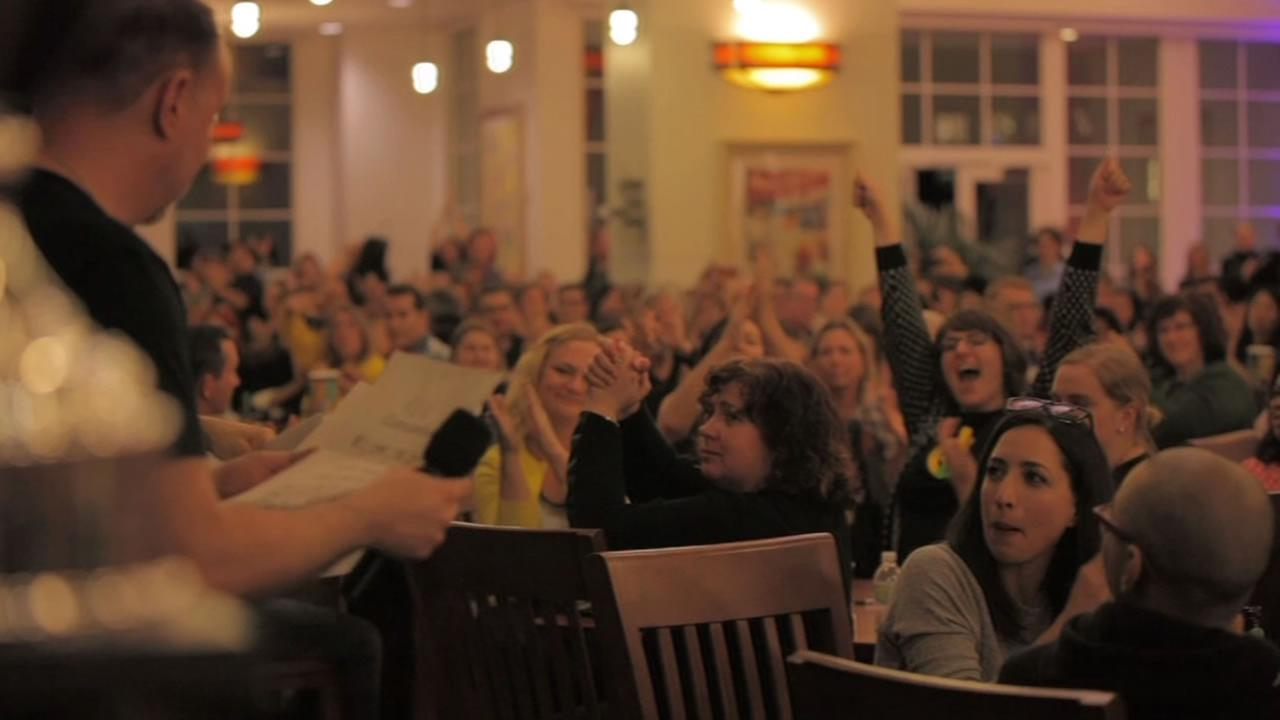 This image shows dozens of people at the Lucasfilm Trivia Night in San Francisco March 31, 2016.