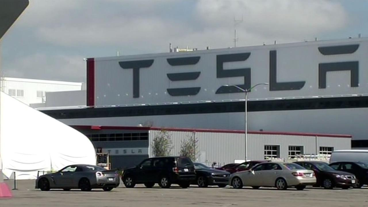 FILE -- This image shows the Tesla plant in Fremont, Calif.