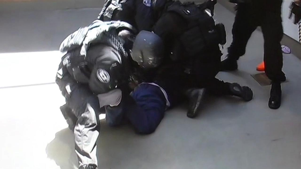 Sheriffs using excessive force on an inmate in Santa Clara, Calif. this undated image.