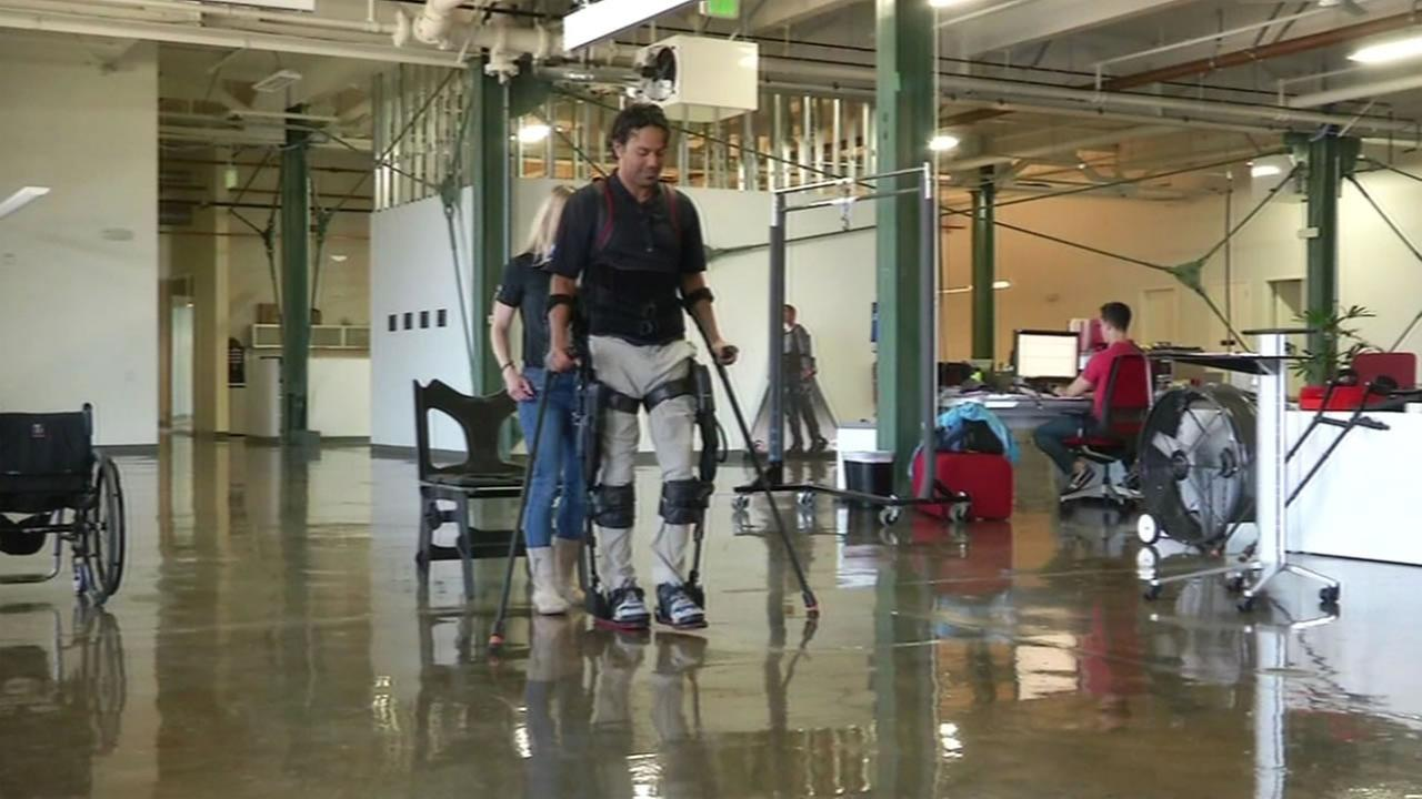 This image shows Arash Bayatmakou wearing an Ekso GT, a device designed to help him walk again, April 5, 2016 in Richmond, Calif. The device was just approved by the FDA.