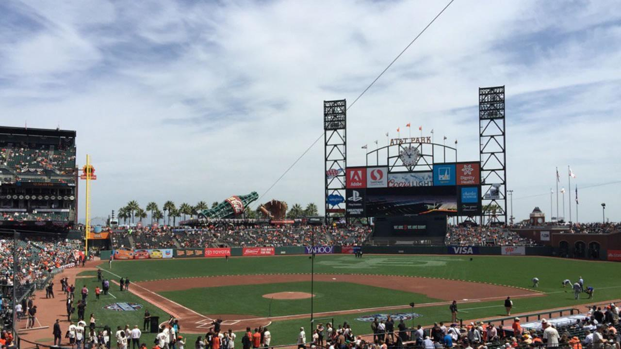 Crowds gather inside AT&T Park for the Giants home opener against the Dodgers April 7, 2016.