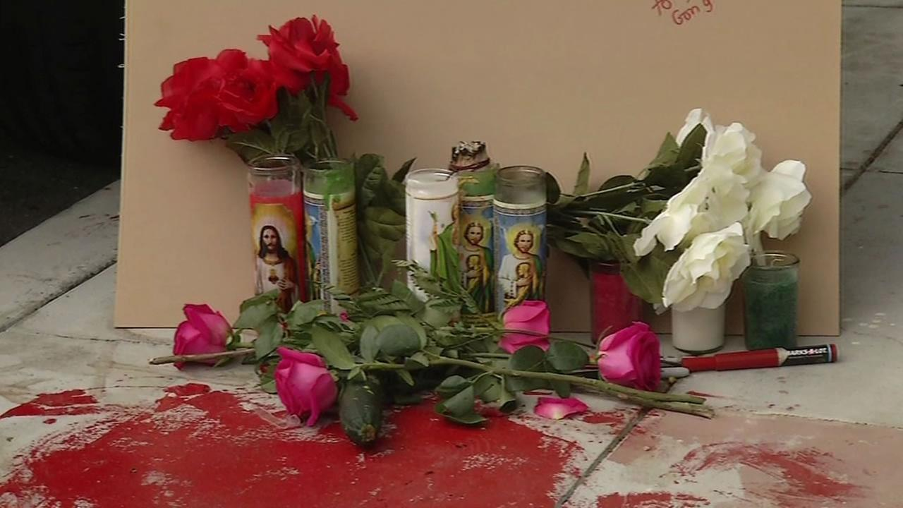 This image shows a growing memorial for a homeless man was killed in a police shooting in San Franciscos Mission District April 8, 2016.