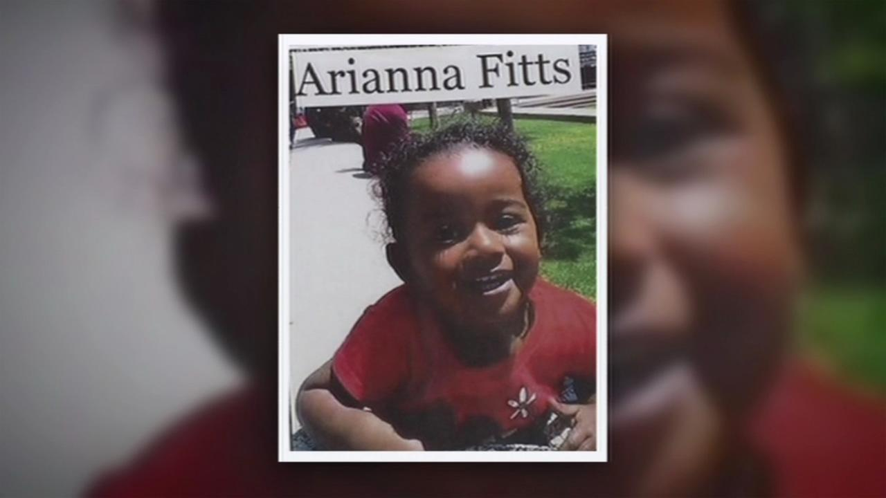 A 2-year-old toddler named Arianna Fitts who was reported missing is seen in this undated image.