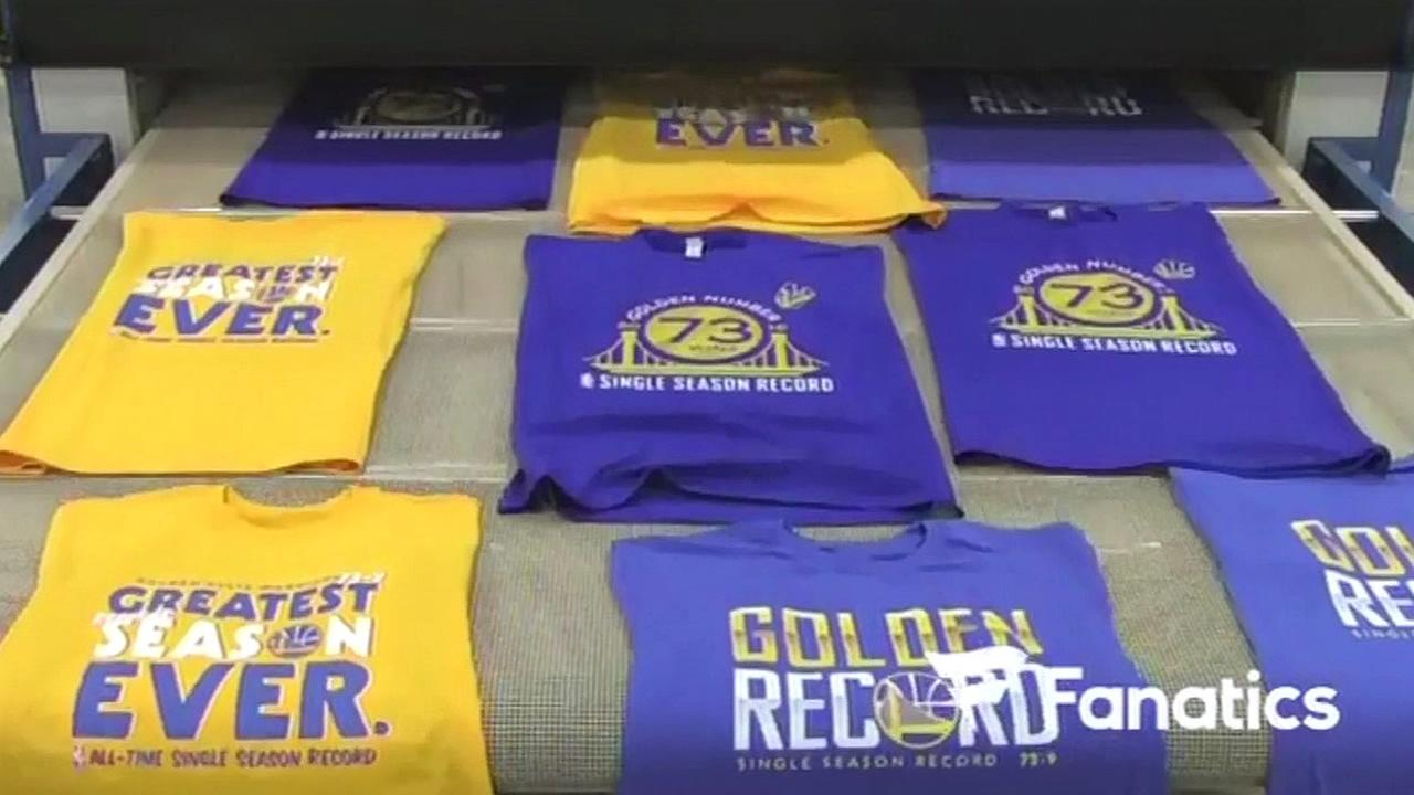 Golden State Warriors t-shirts are seen in this image after they made history after winning 73 games in a regular season on Wednesday, April 13, 2016.
