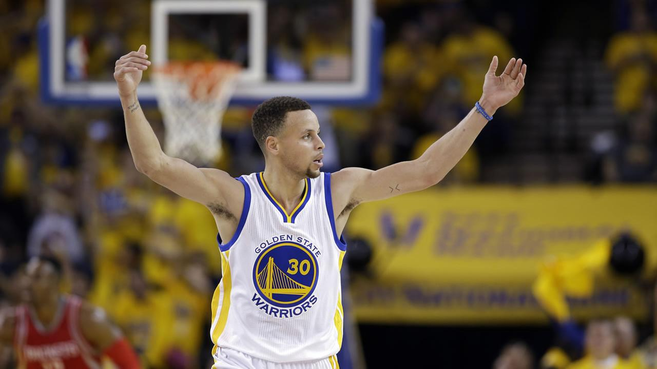 Golden State Warriors Stephen Curry (30) during Game 1 of a first-round NBA basketball playoff series against the Houston Rockets Saturday, April 16, 2016, in Oakland, Calif.