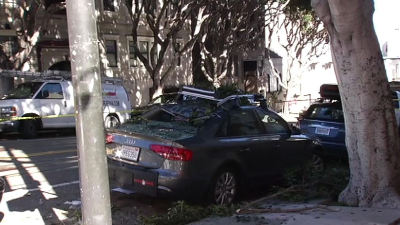 This image shows the car that a robbery suspect crashed into as he fell from a building in San Franciscos Nob Hill neighborhood April 16, 2016.