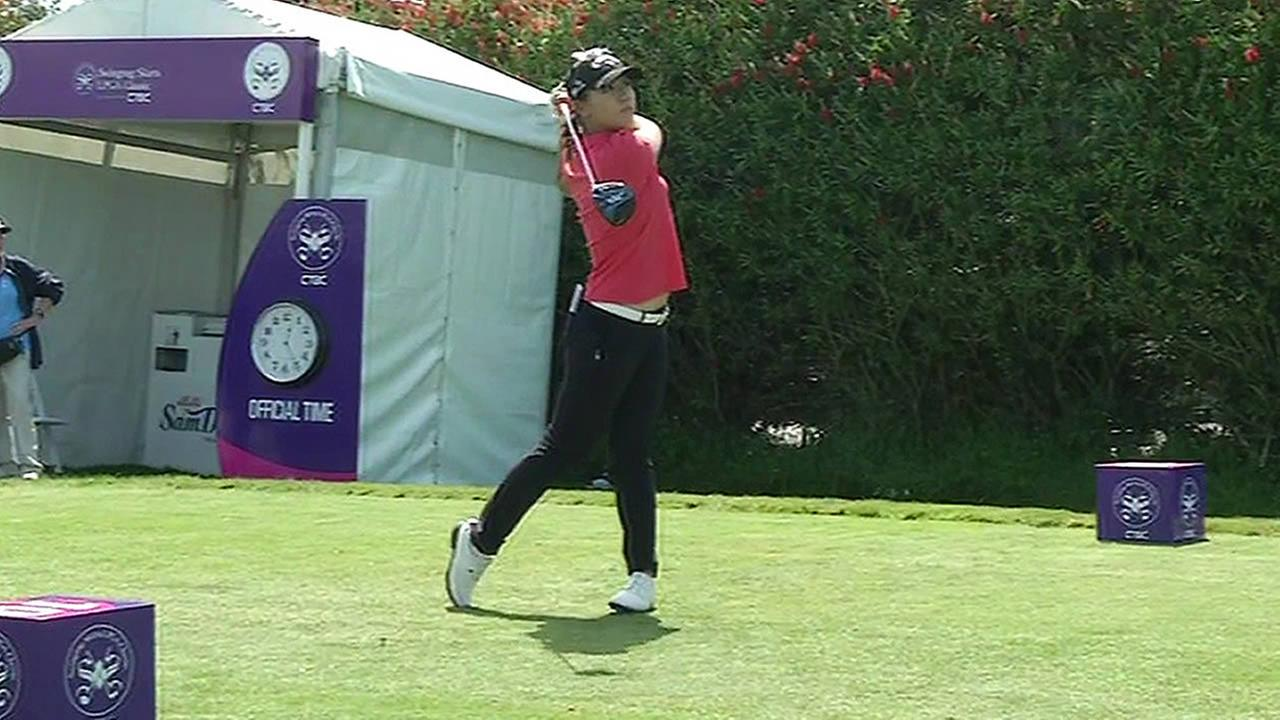 Two-time defending champion Lydia Ko is seen playing golf in this undated image.
