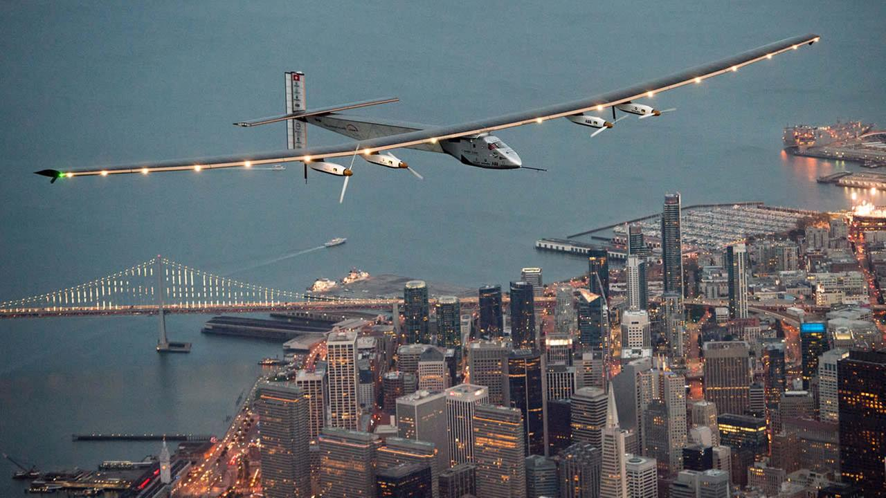 Solar Impulse 2 flies over San Francisco, Saturday, April 23, 2016.