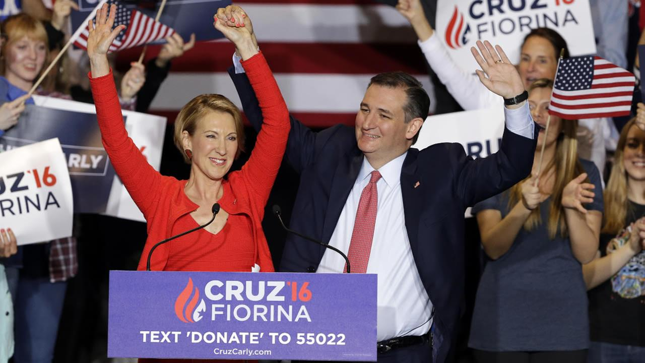 Republican presidential candidate Sen. Ted Cruz, R-Texas,  joined by former Hewlett-Packard CEO Carly Fiorina waves during a rally in Indianapolis April 27, 2016. (AP Photo)