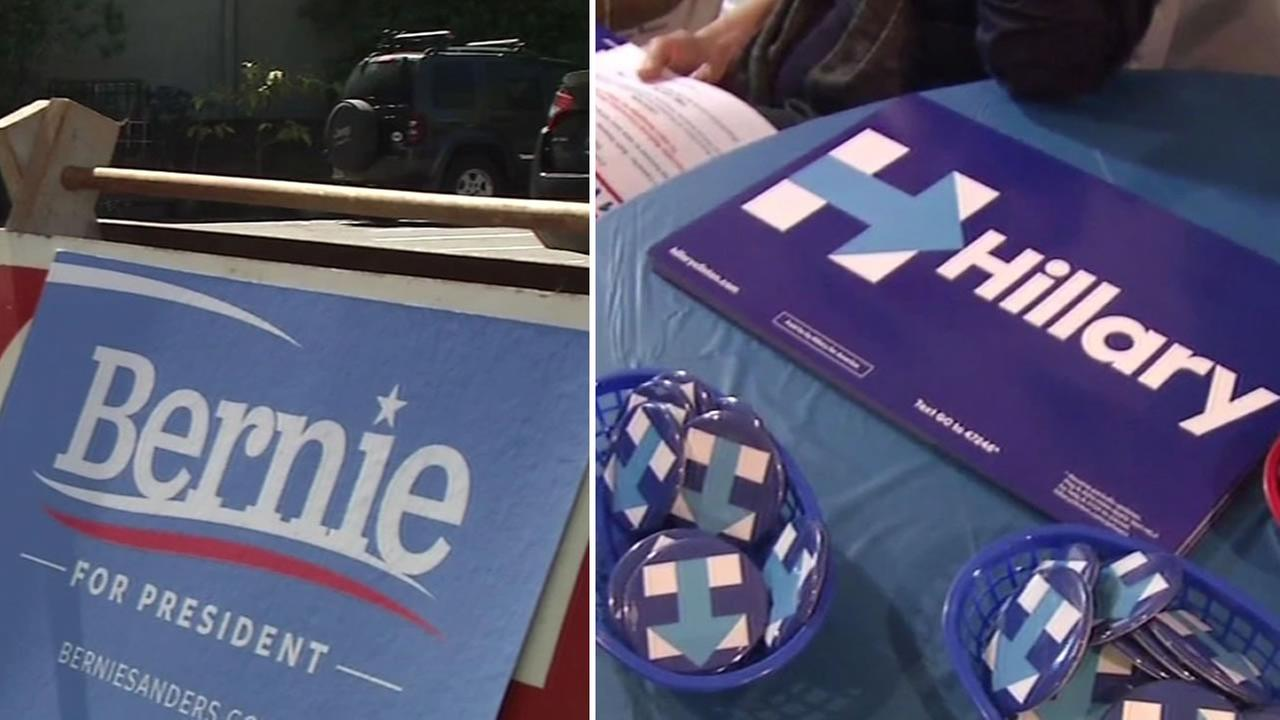 Democrats Bernie Sanders and Hillary Clinton have set up their campaign in headquarters in preparation for the June 2016 primary.