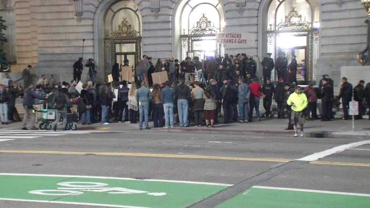 Film crews and actors crowded outside of San Francisco City Hall April 29, 2016 to film an ABC miniseries When We Rise.