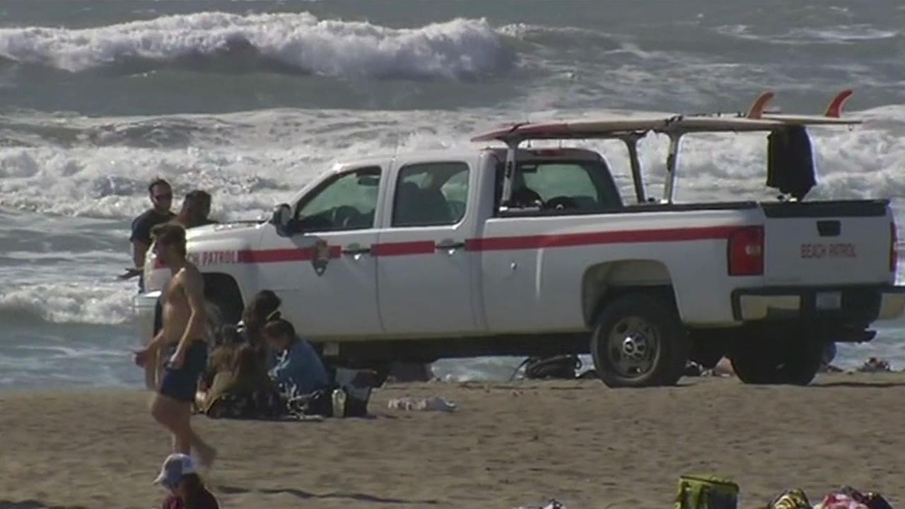 This image shows Ocean Beach in San Francisco on April 30, 2016 after a surf advisory has been issued.