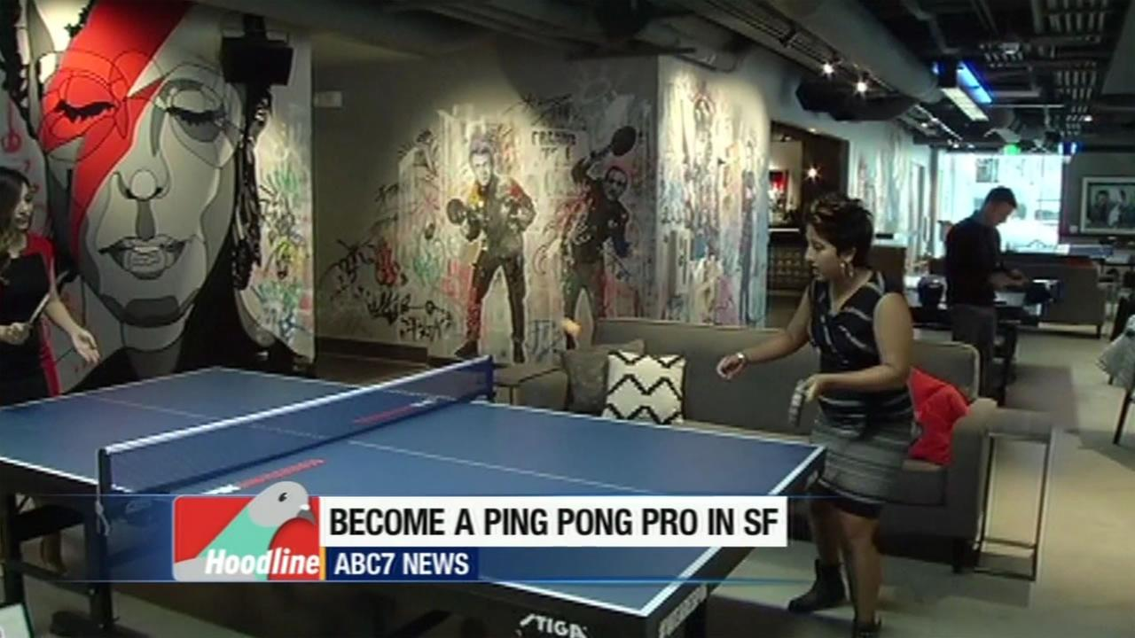 ABC7 News Natasha Zouves is seen playing ping pong with a woman in this undated image.