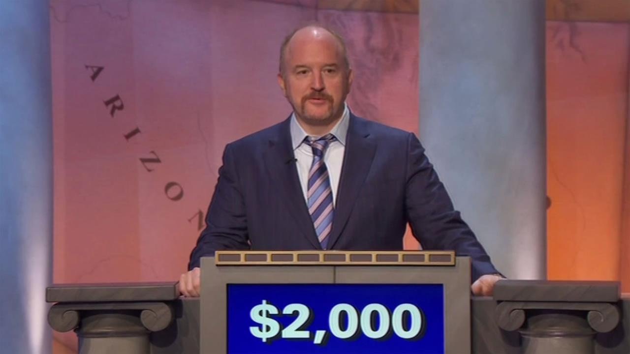 This image shows comedian Louis C.K. on Jeopardy! where he walked away a winner on May 18, 2016.