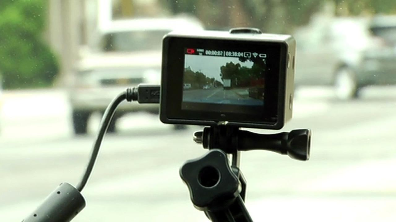 A dashcam is seen inside a car in this undated image.